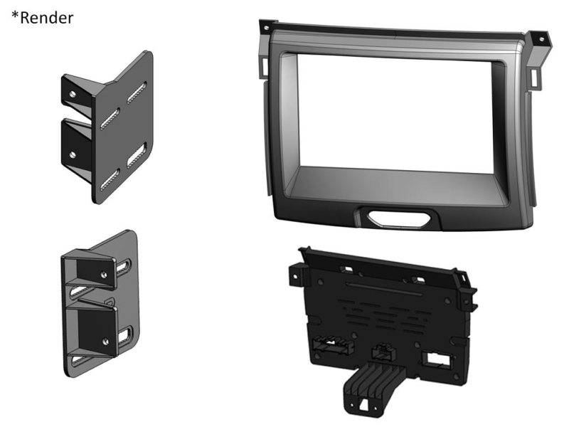 2-DIN kit til Ford Ranger 2015-.