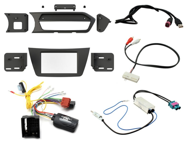 2-DIN kit Sort ramme, Mercedes C-klasse 2012>2014