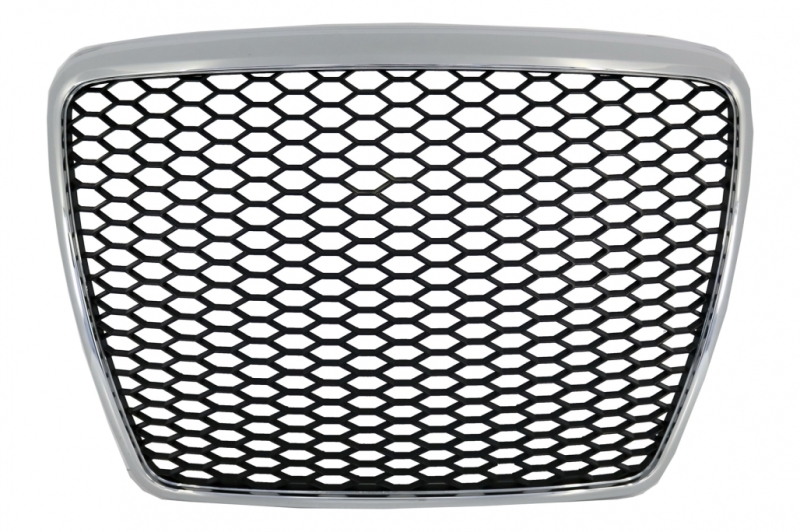 Badgeløs frontgitter Egnet til Audi A6 4F2 4F C6 (2004-2011) RS Design Chrome Black